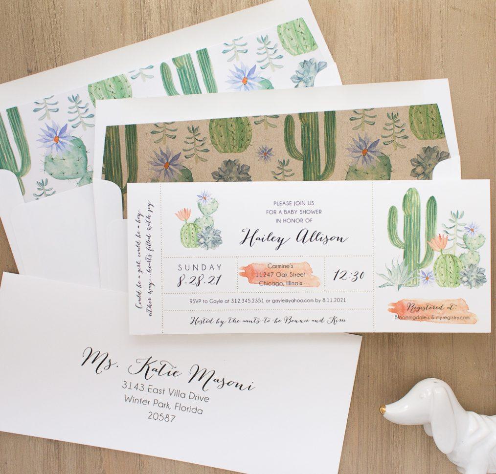 Cactus Blooms Baby Shower Invite
