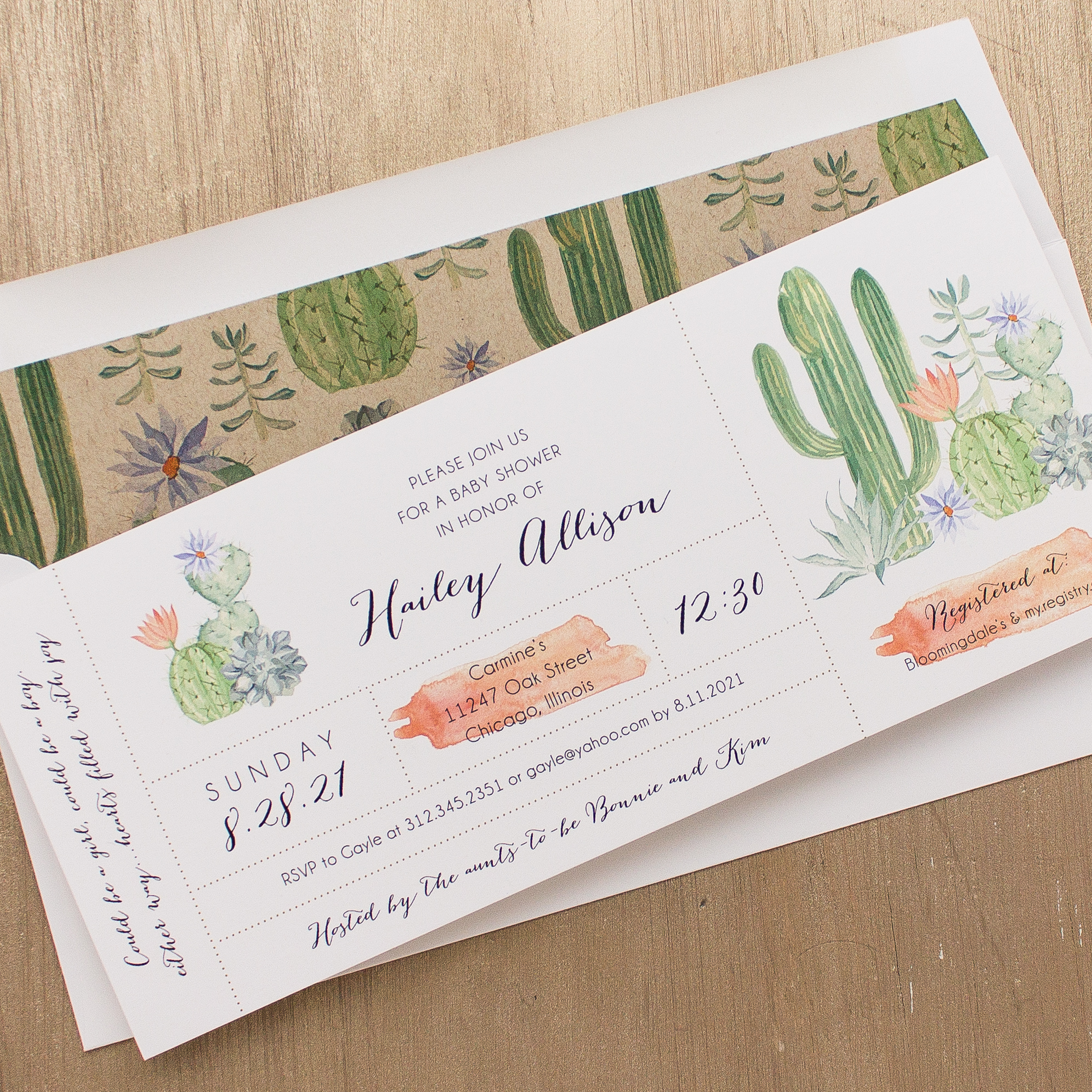 Cactus Blooms Baby Shower Invitations | Beacon Lane