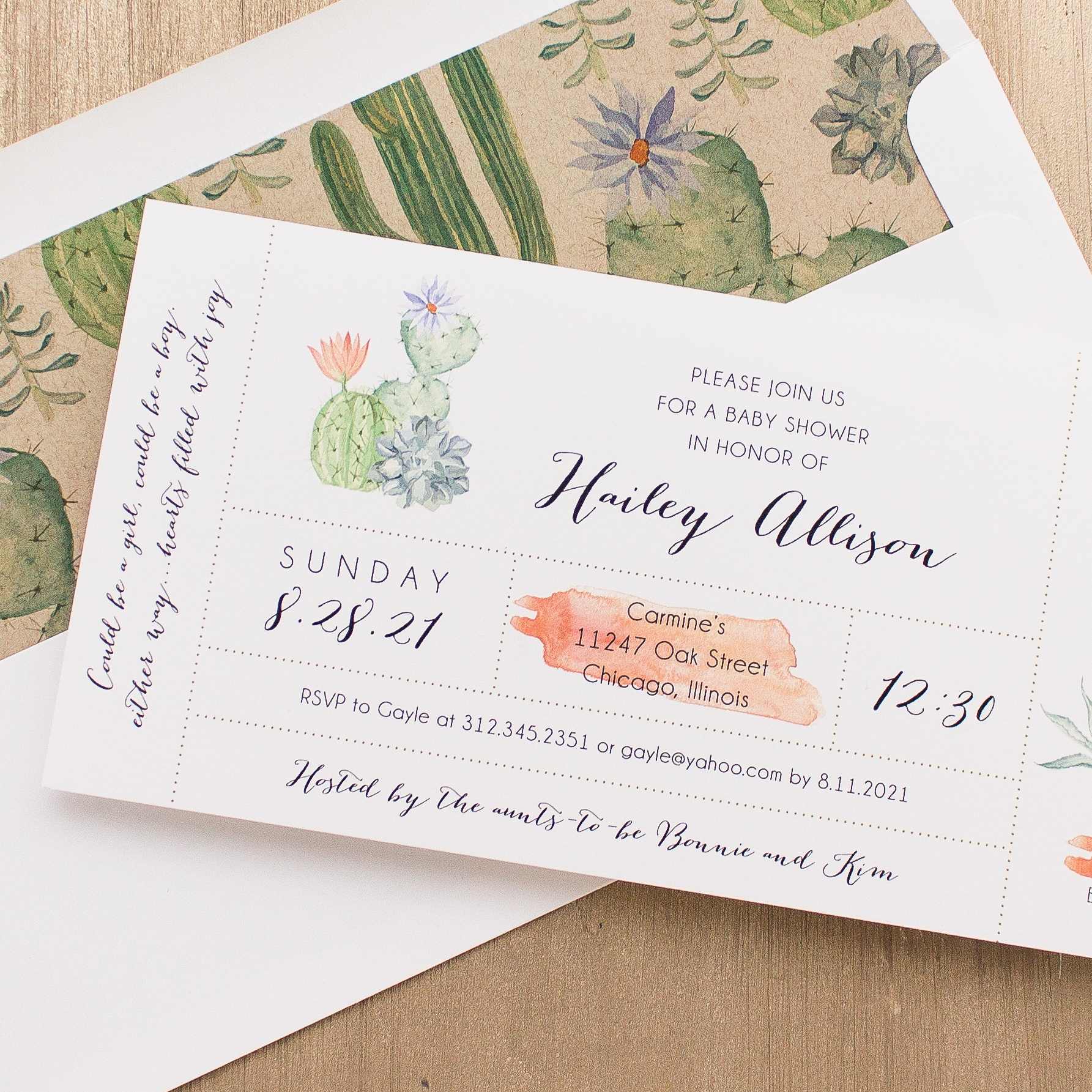 Cactus Blooms Baby Shower Invitations