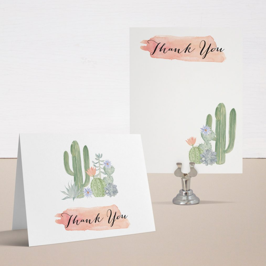 Cactus Blooms Baby Shower Thank You Cards
