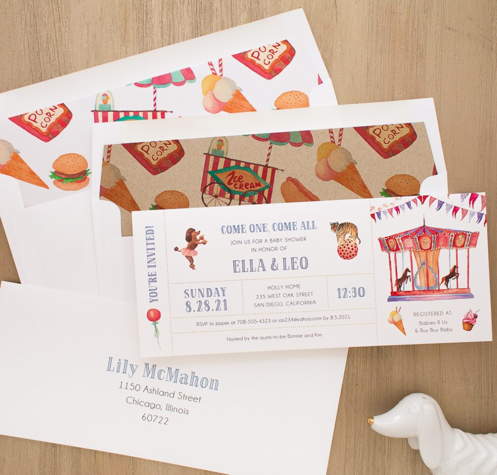 Circus Time Baby Shower Invite