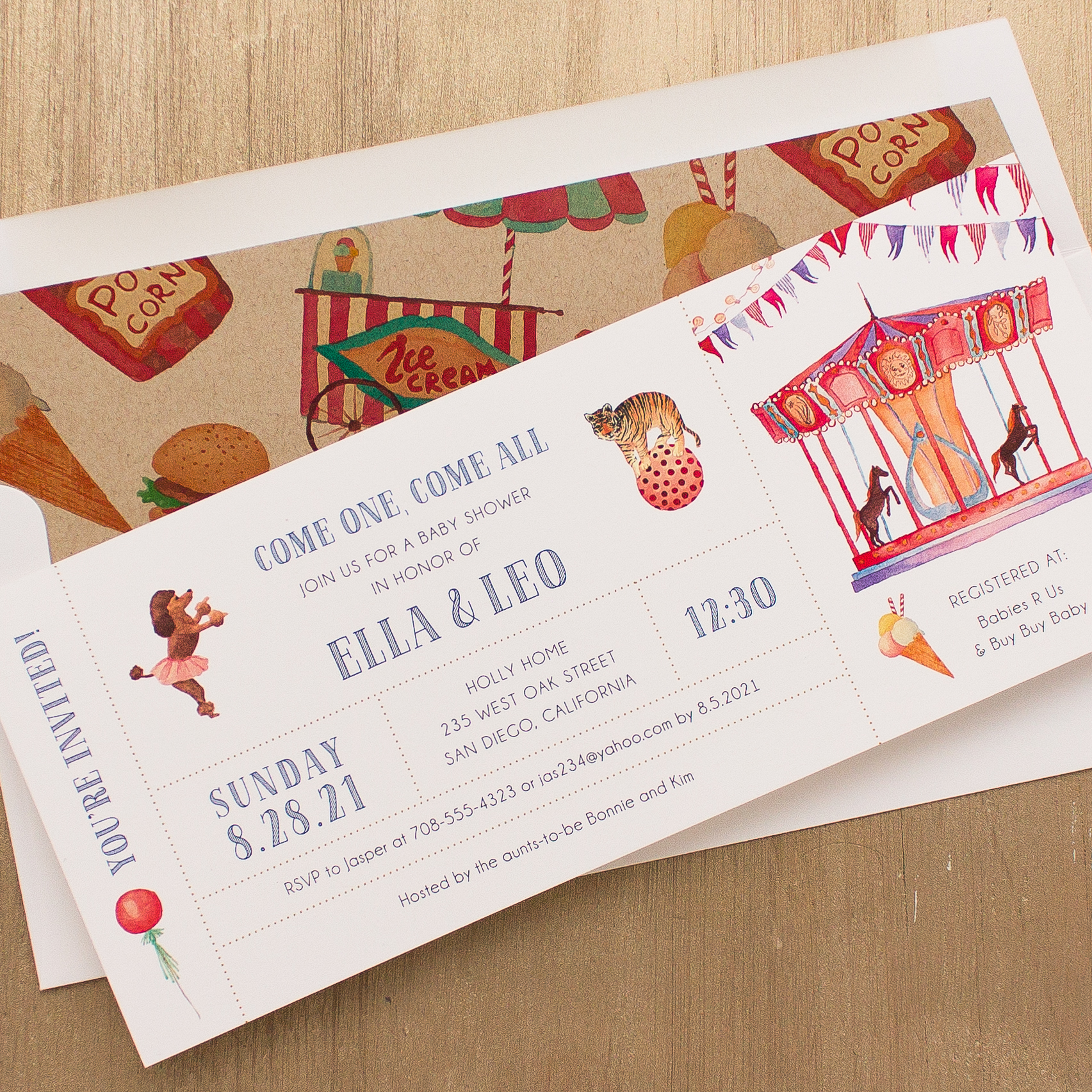 Circus Time Baby Shower Invitations