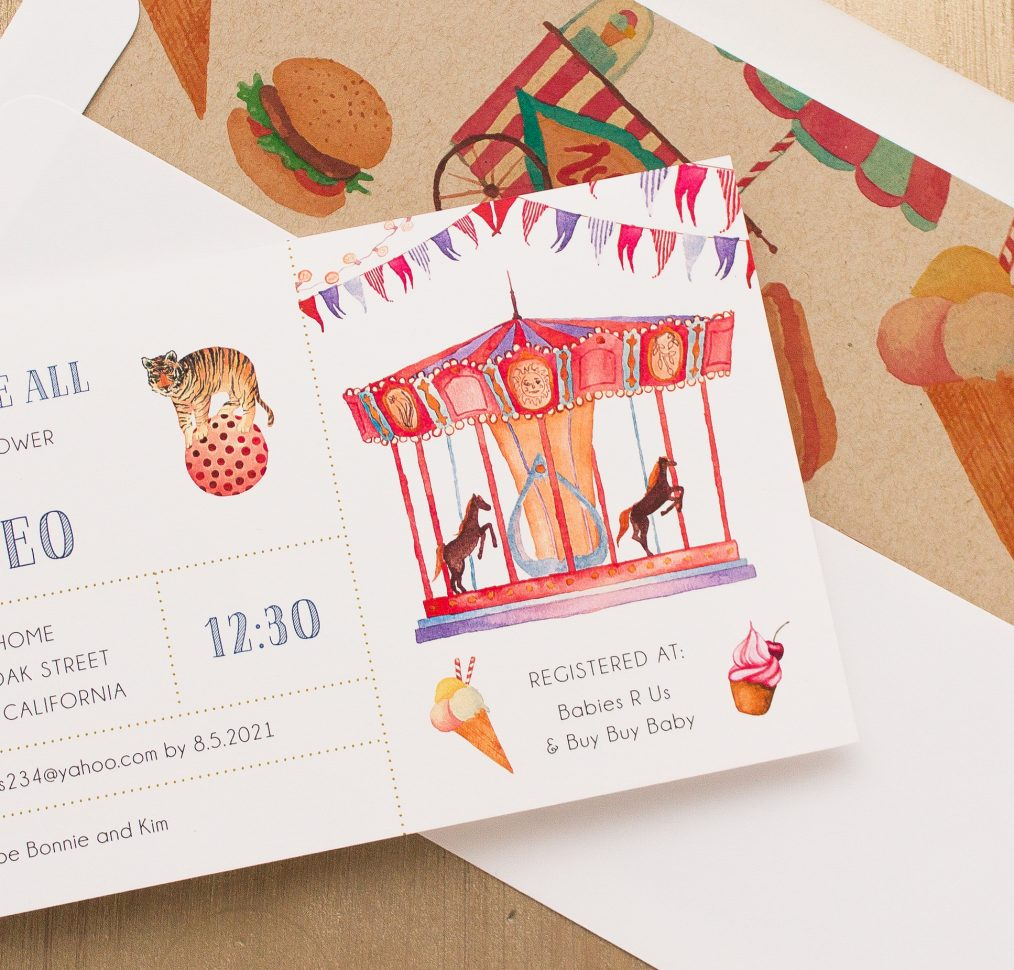 Circus Time Baby Shower Invitation