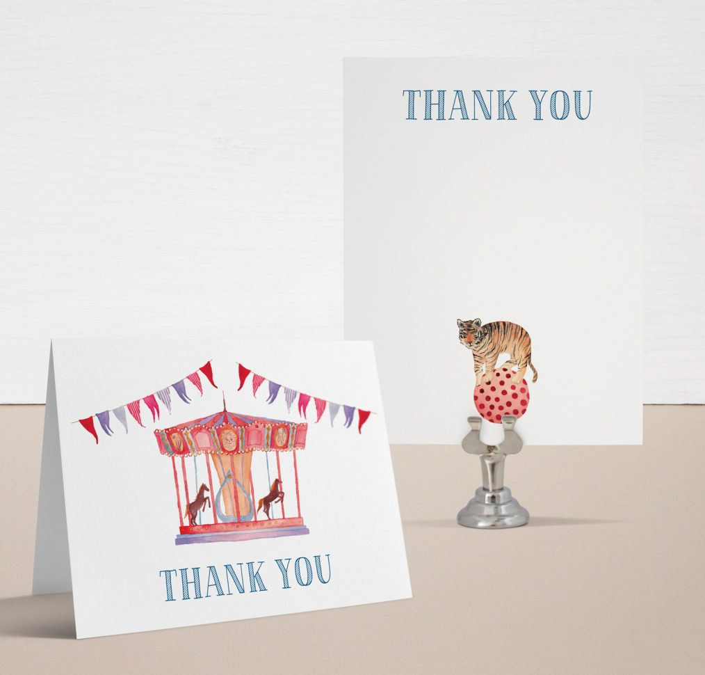 Circus Time Baby Shower Thank You Cards