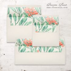 Coral Berries Envelope Liners