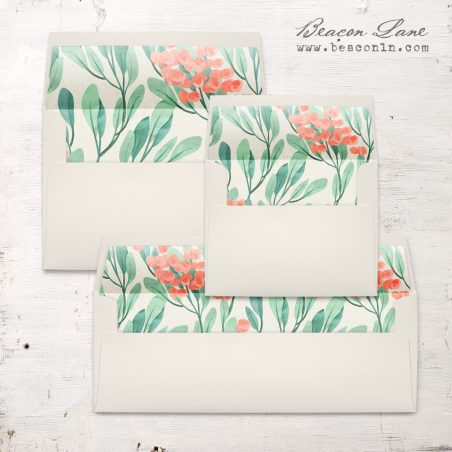 Coral Berries Envelope Liners