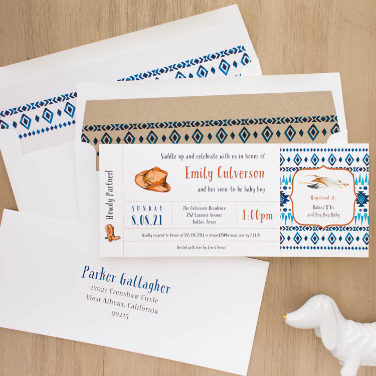 Cowboy Cutie Baby Shower Invites