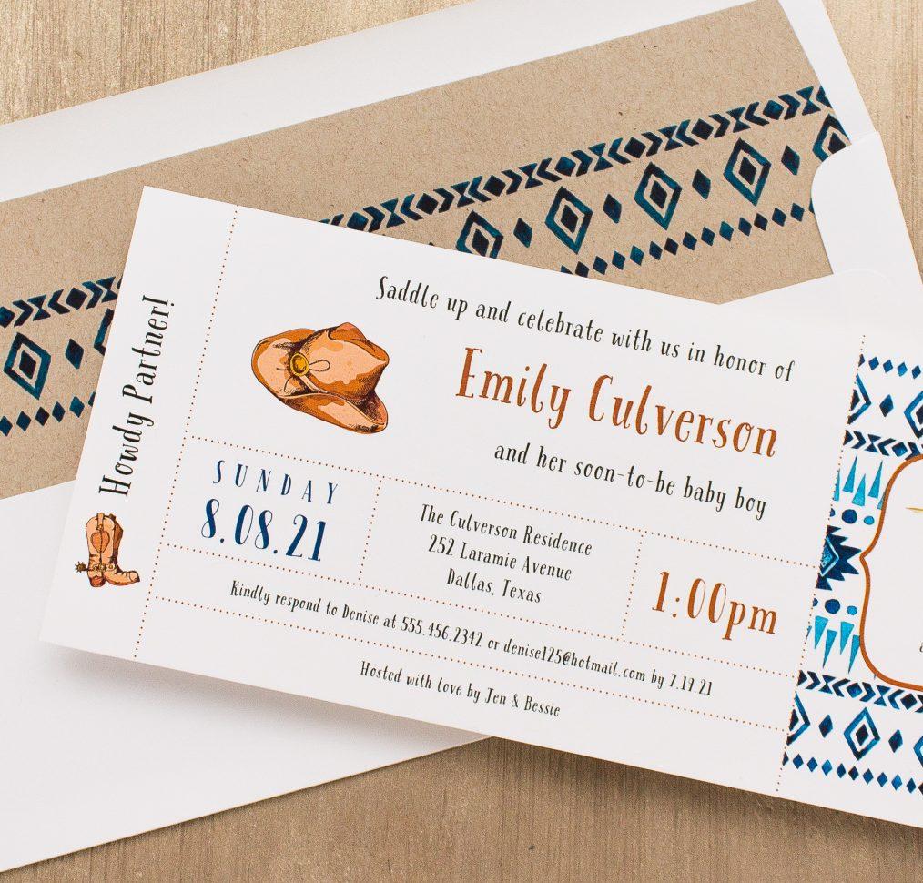 Cowboy Cutie Baby Shower Invitations