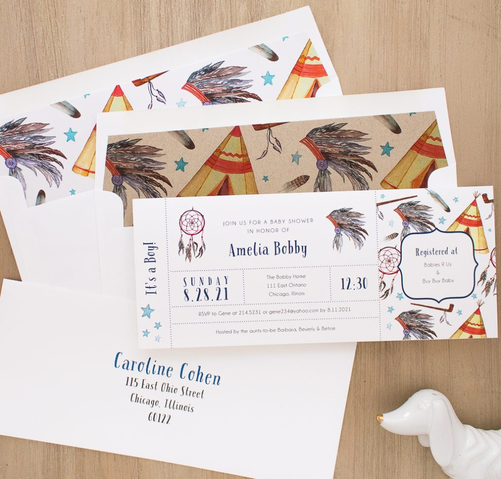 Cowboys & Indians Baby Shower Invites