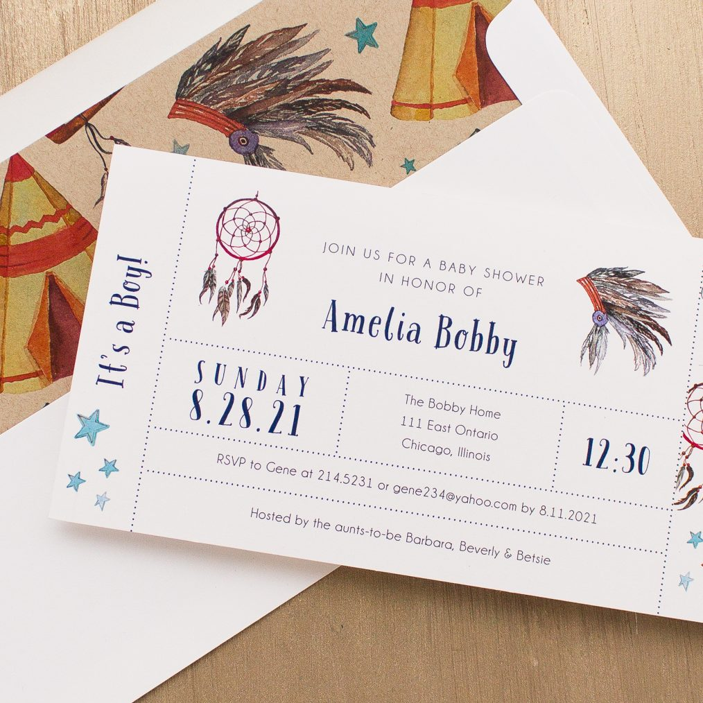 Cowboys & Indians Baby Shower Invitations