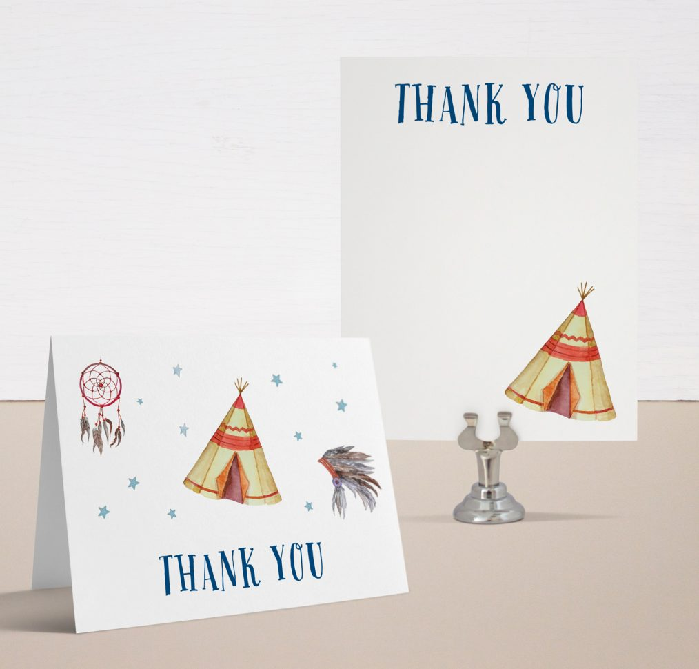 Cowboys & Indians Baby Shower Thank You Cards