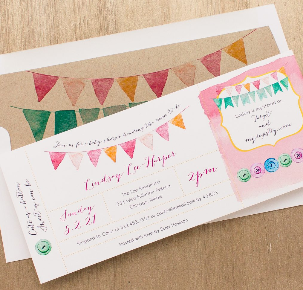 Cute As A Button Baby Shower Invitation