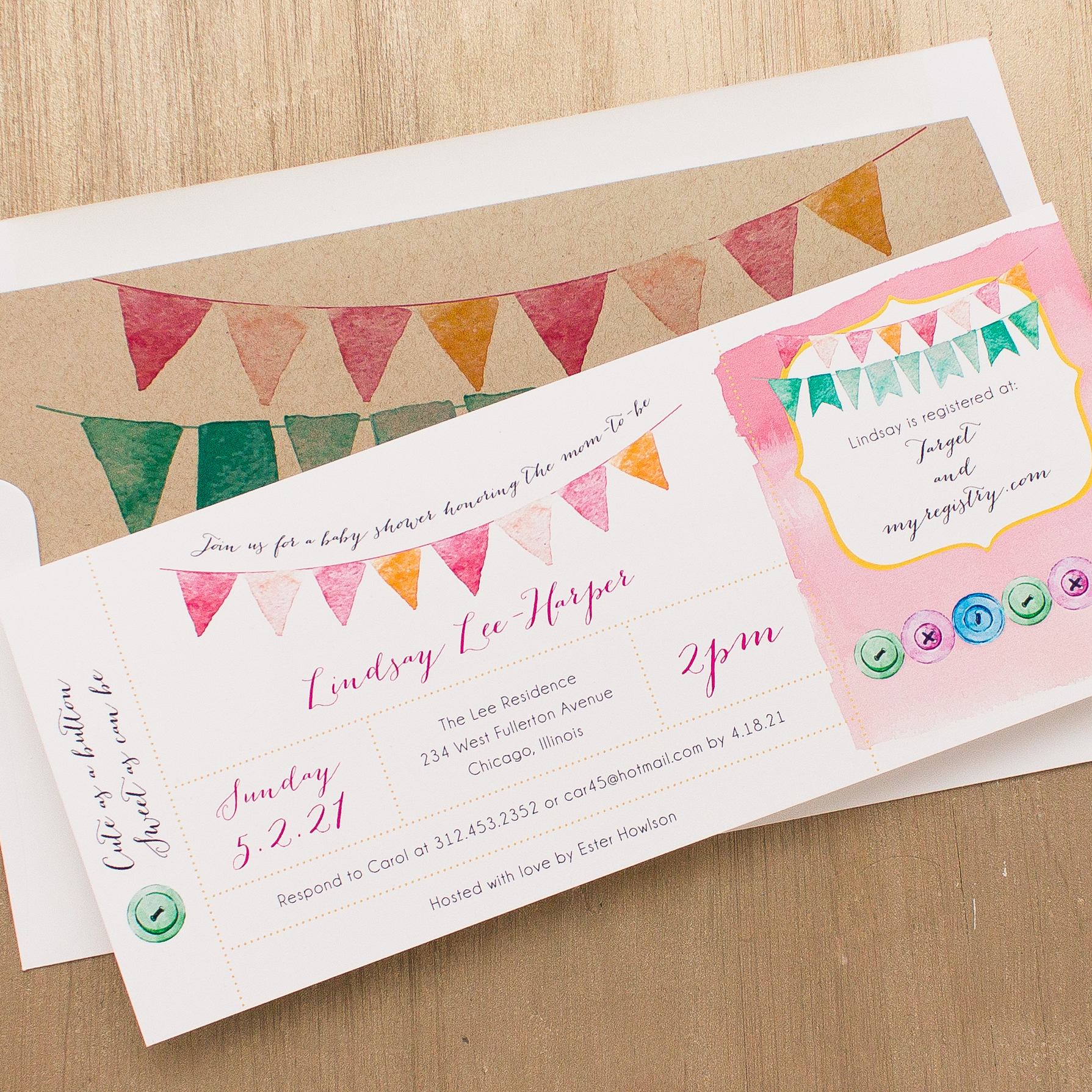 Cute as a Button Baby Shower Invitations