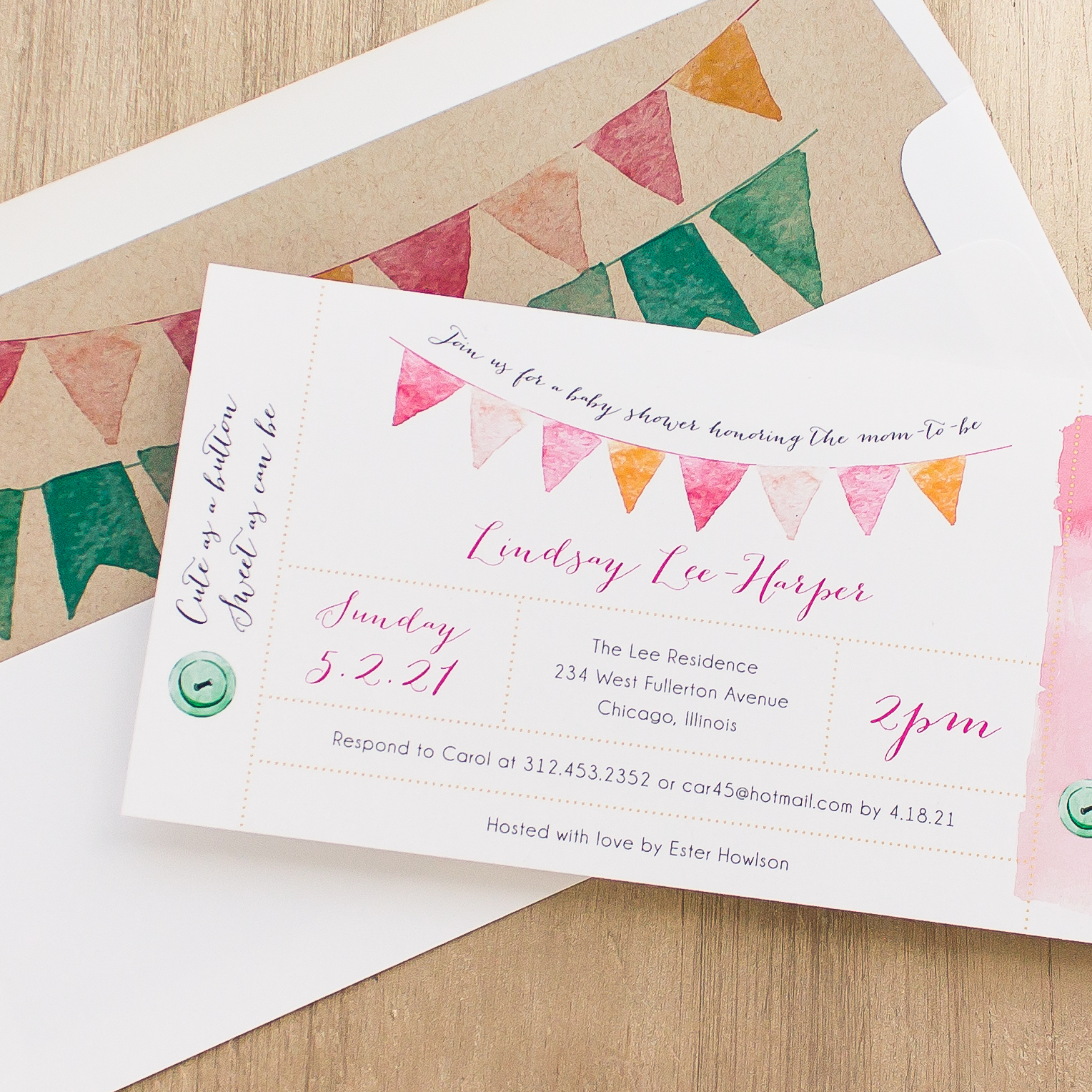Cute as a Button Baby Shower Invites With Envelope Liners ...