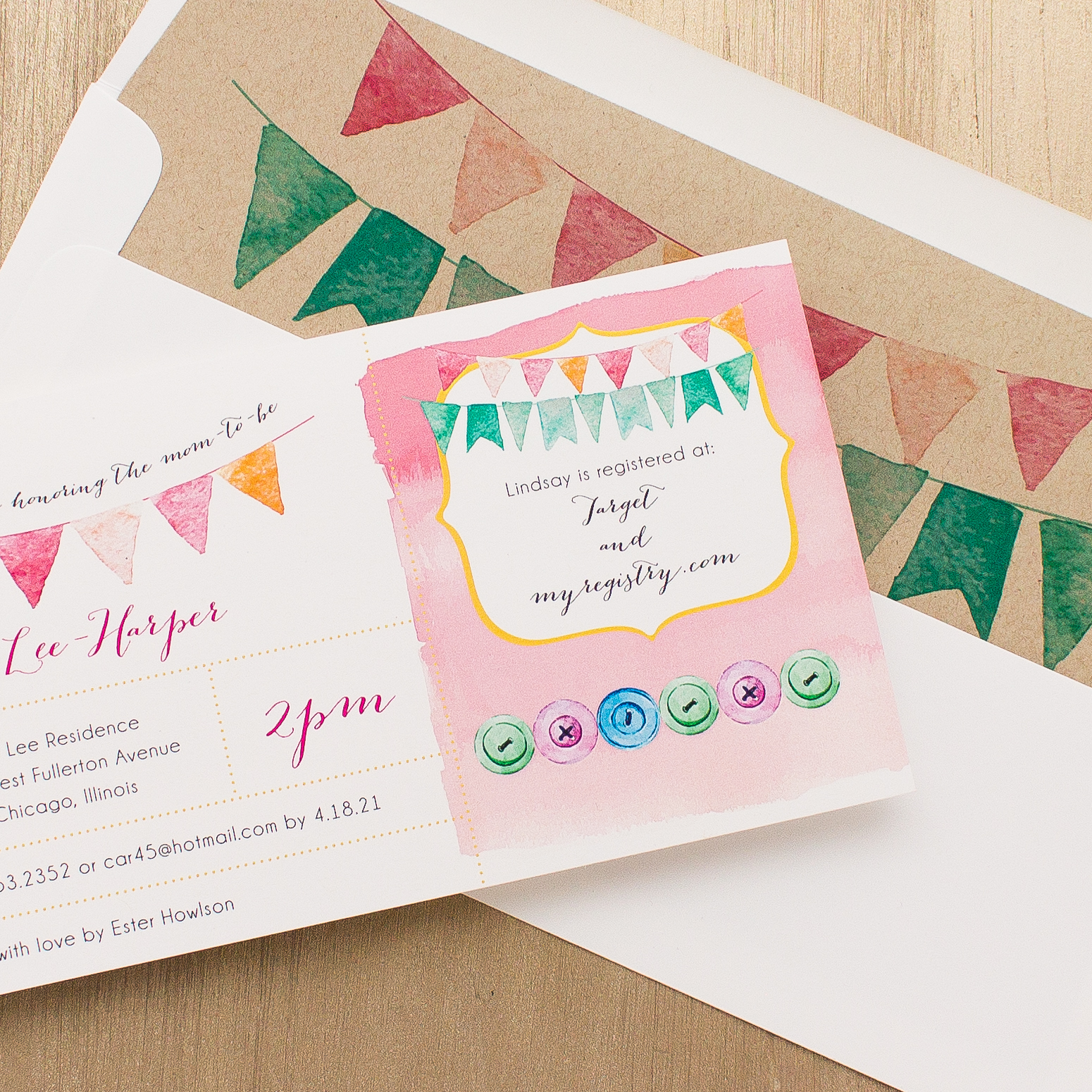 Cute as a Button Baby Shower Invites With Envelope Liners | Beacon Lane