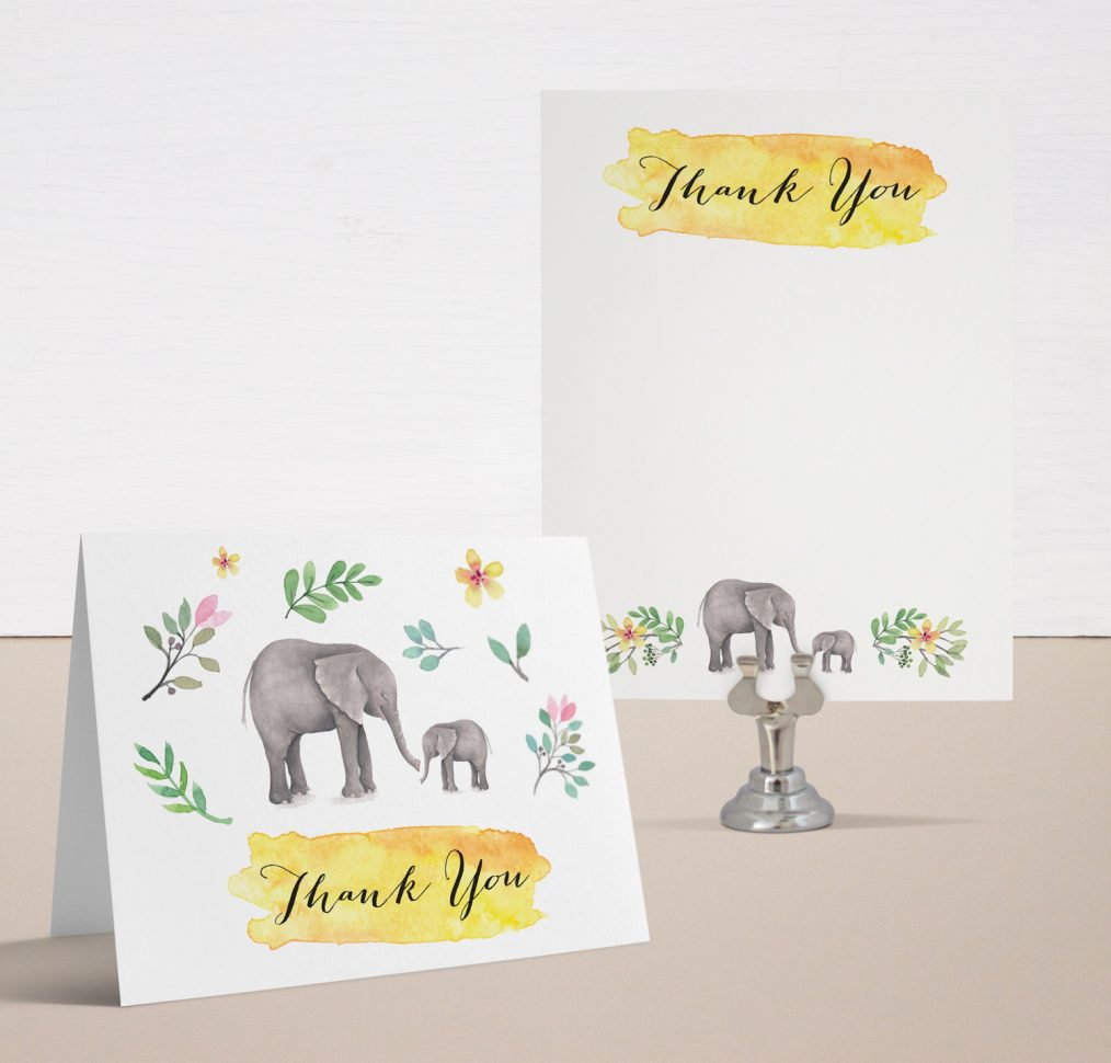 Ellie The Elephant Baby Shower Thank You Cards