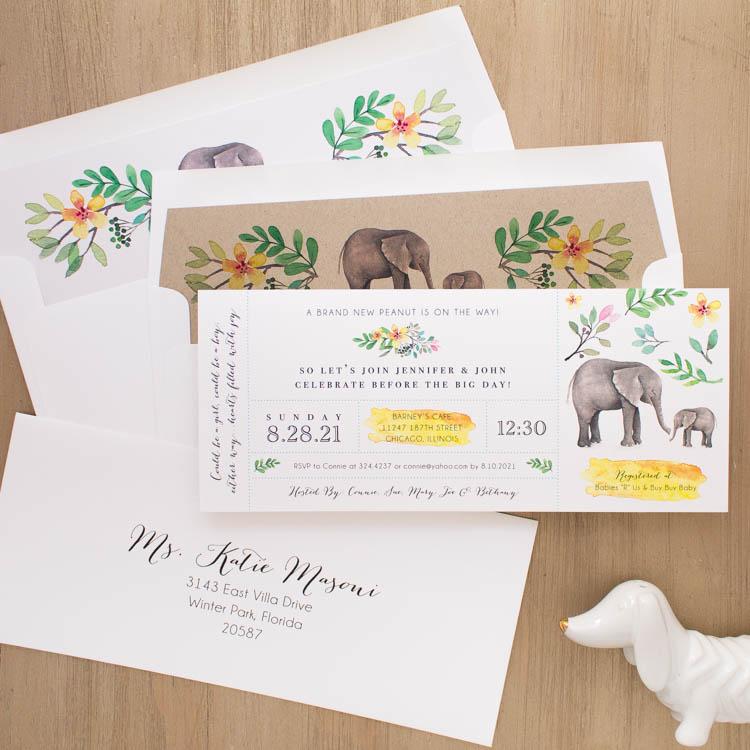 Ellie The Elephant Baby Shower Invites