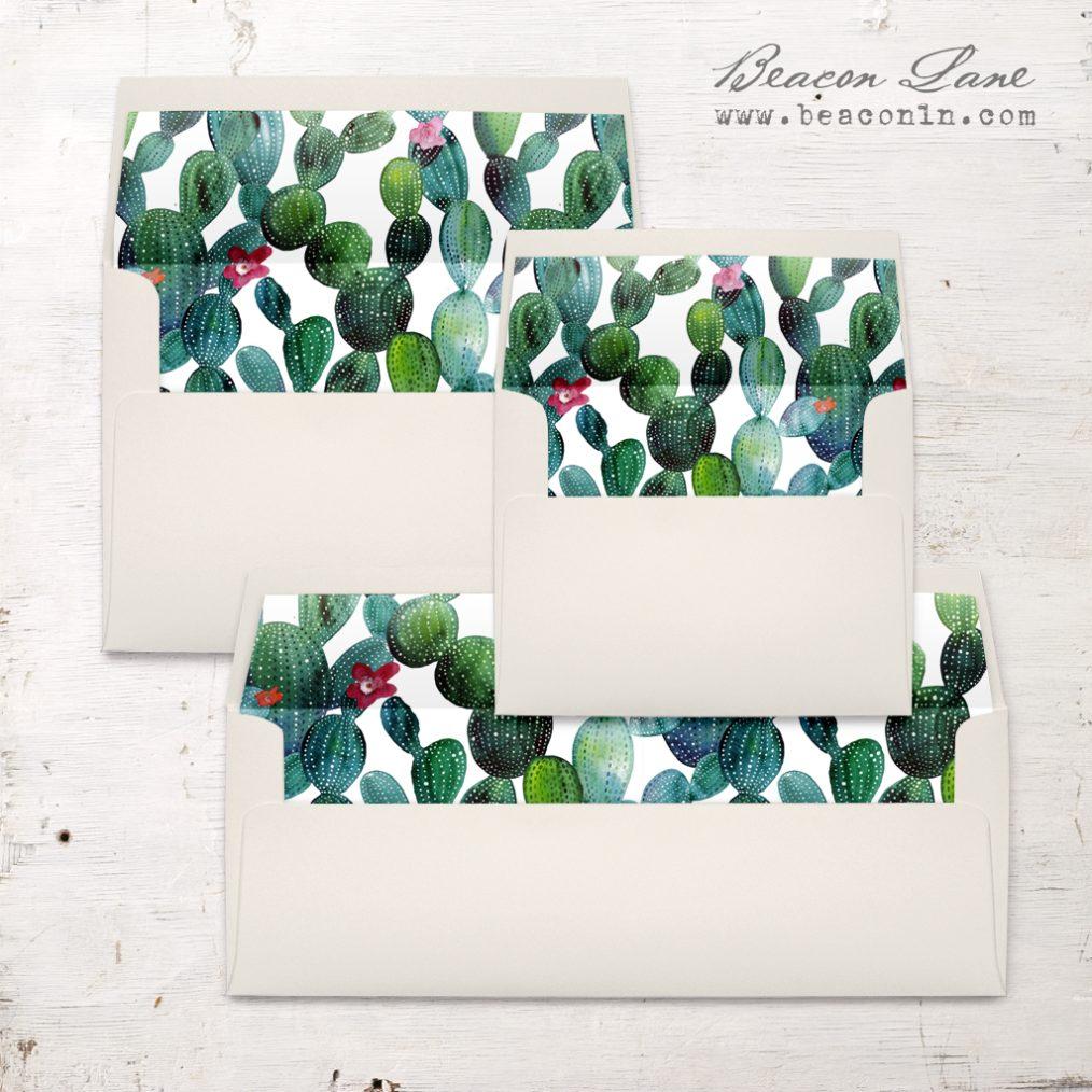 Emerald Cactus Envelope Liner