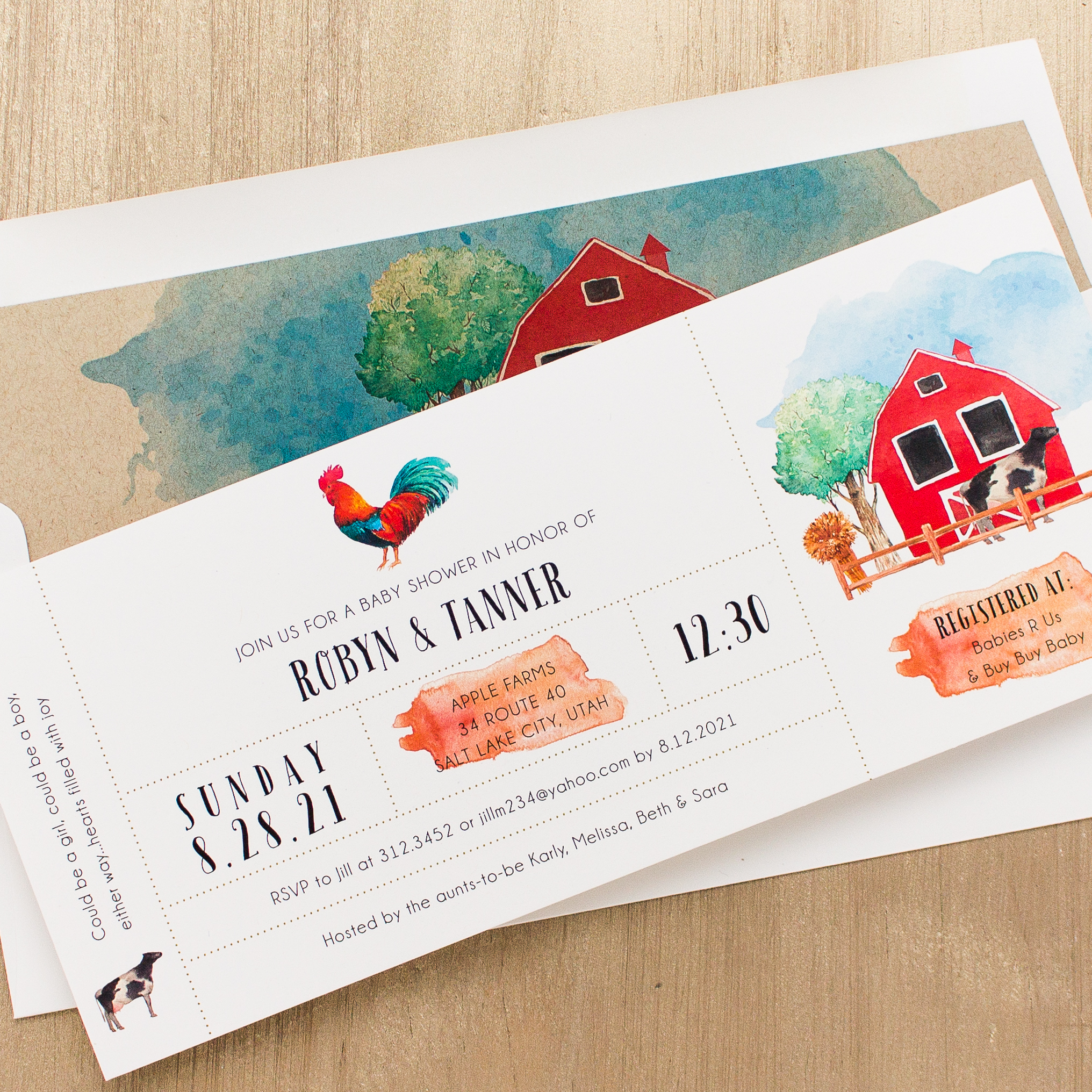 Farm Life Baby Shower Invitations with Envelope Liners | Beacon Lane