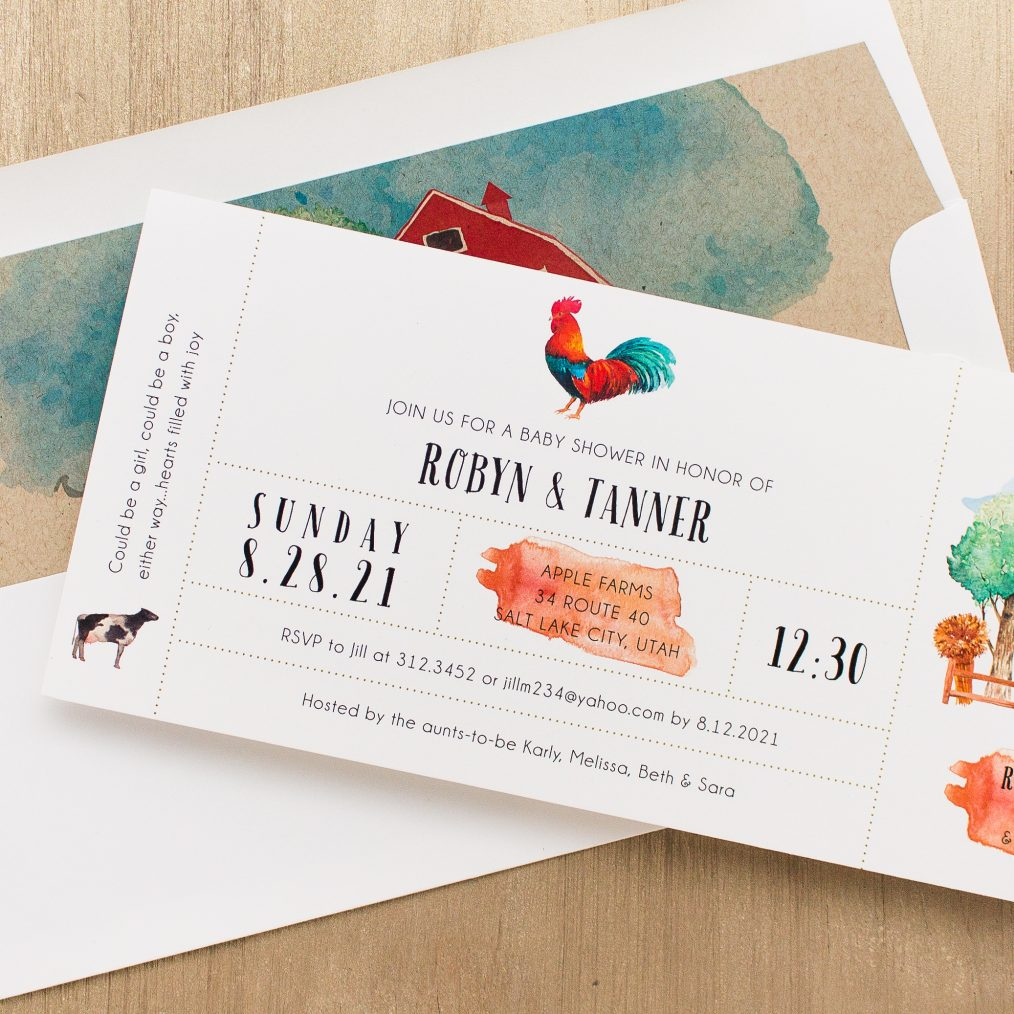 Farm Life Baby Shower Invitations