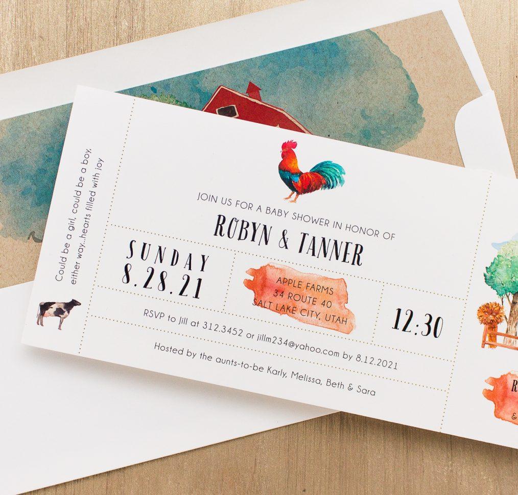 Farm Life Baby Shower Invitations