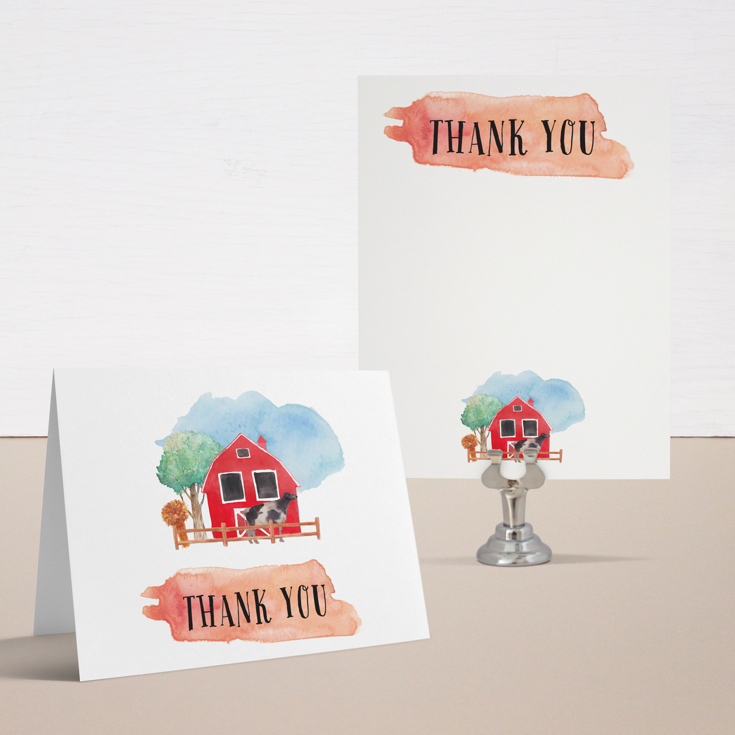 Farm Life Baby Shower Thank You Cards