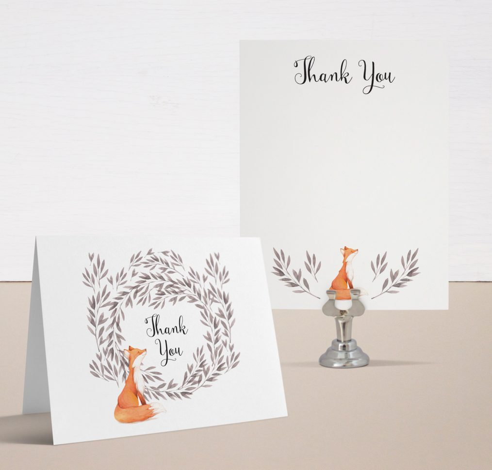 Freddie Fox Baby Shower Thank You Cards