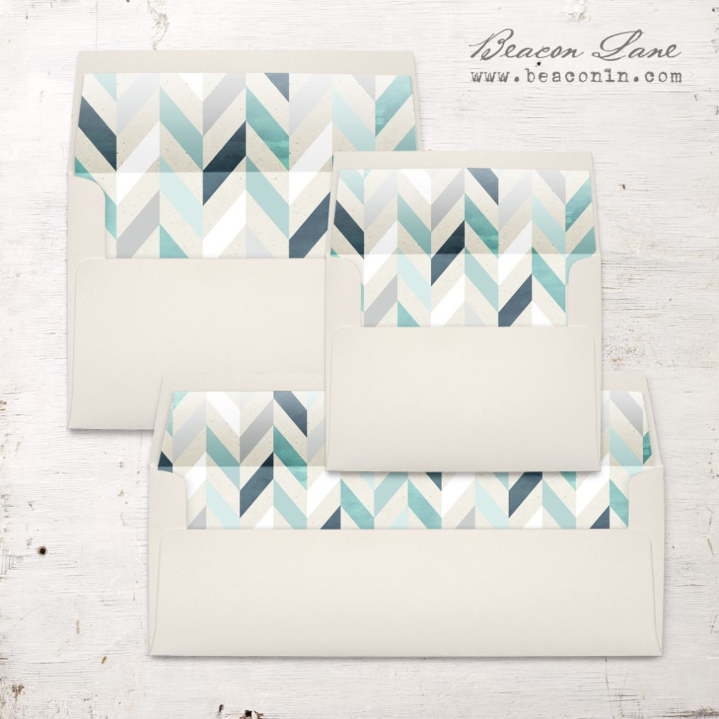 Geometric Mint and Navy Envelope Liners