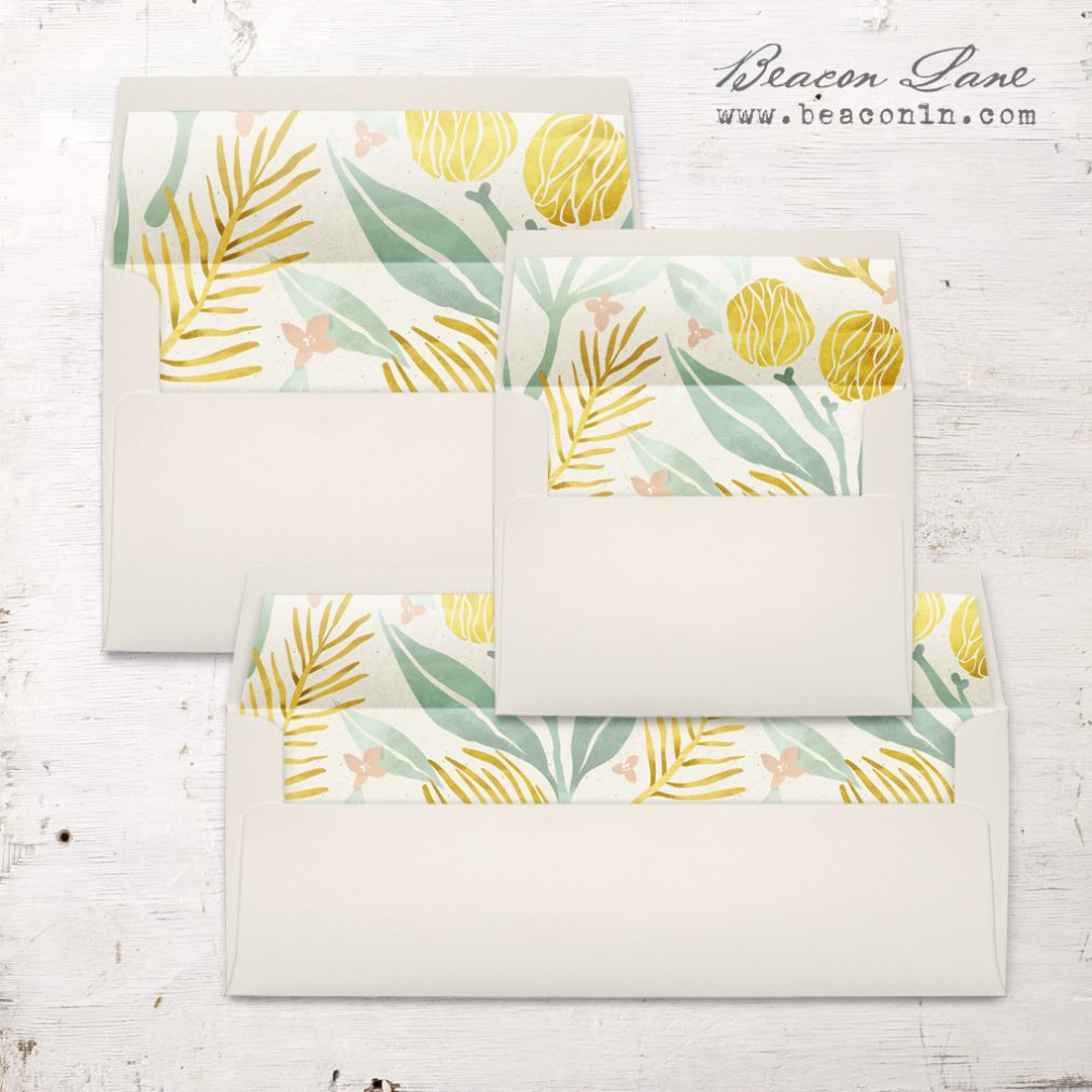 Golden Leaves Envelope Liners