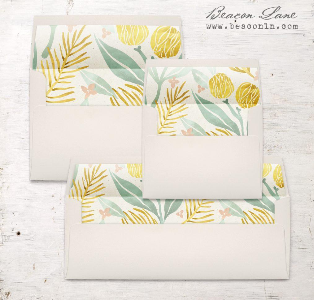 Golden Leaves Envelope Liners