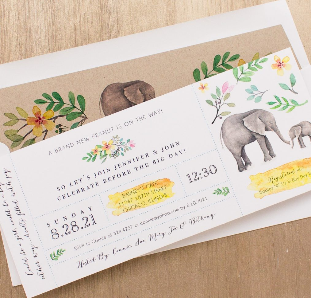 Ellie The Elephant Baby Shower Invitation