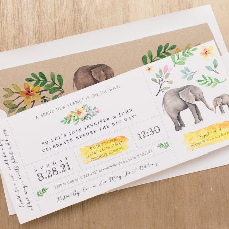 Ellie The Elephant Baby Shower Invitations