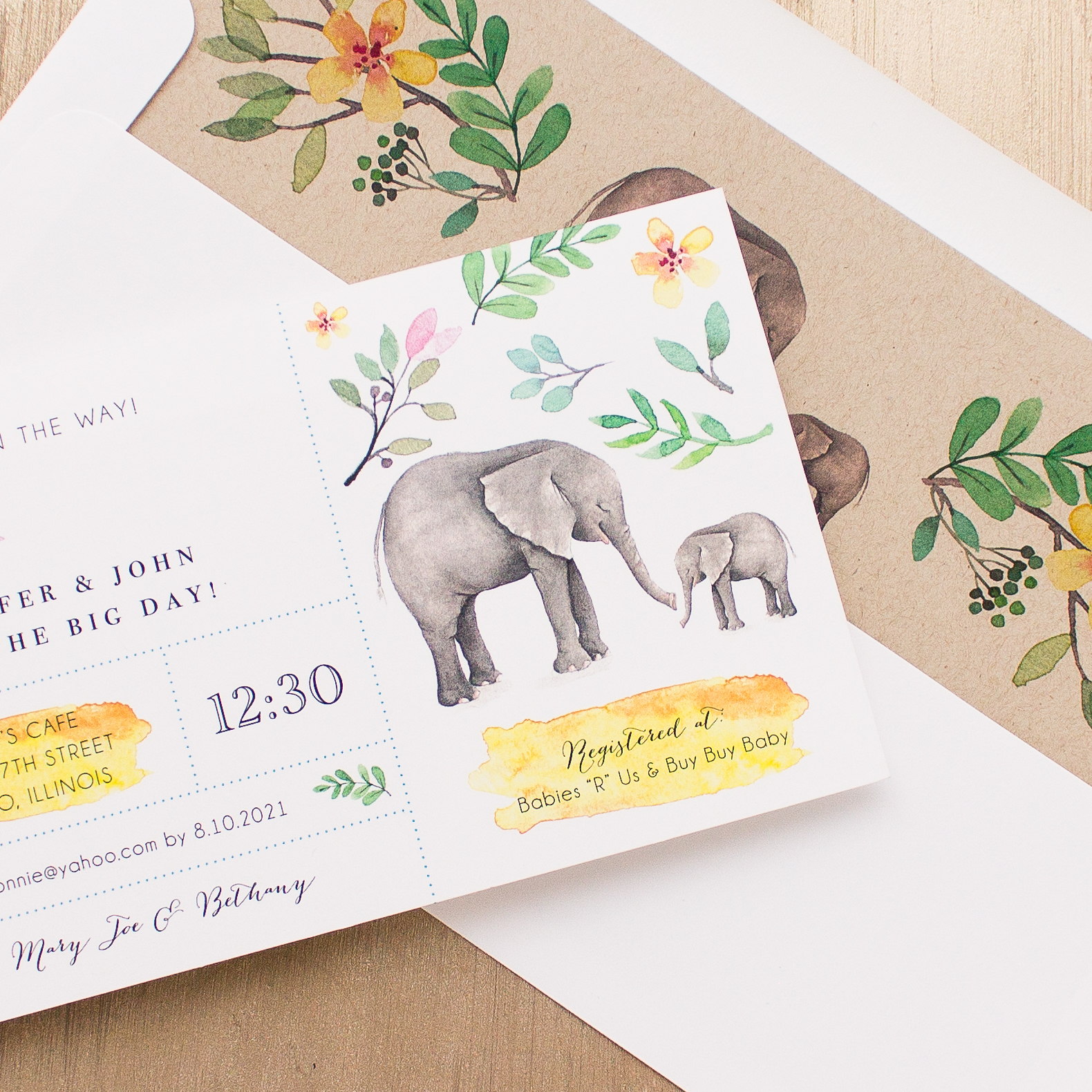 Ellie The Elephant Baby Shower Invites With Envelope ...