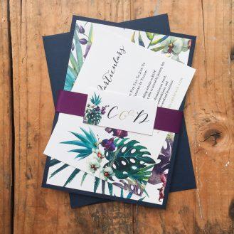 Jewel Tone Tropics Wedding Invitiation by Beacon Lane