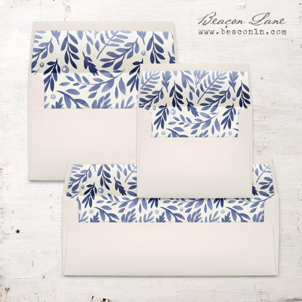 Indigo Leaves Envelope Liners