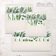 Green Branches Envelope Liner
