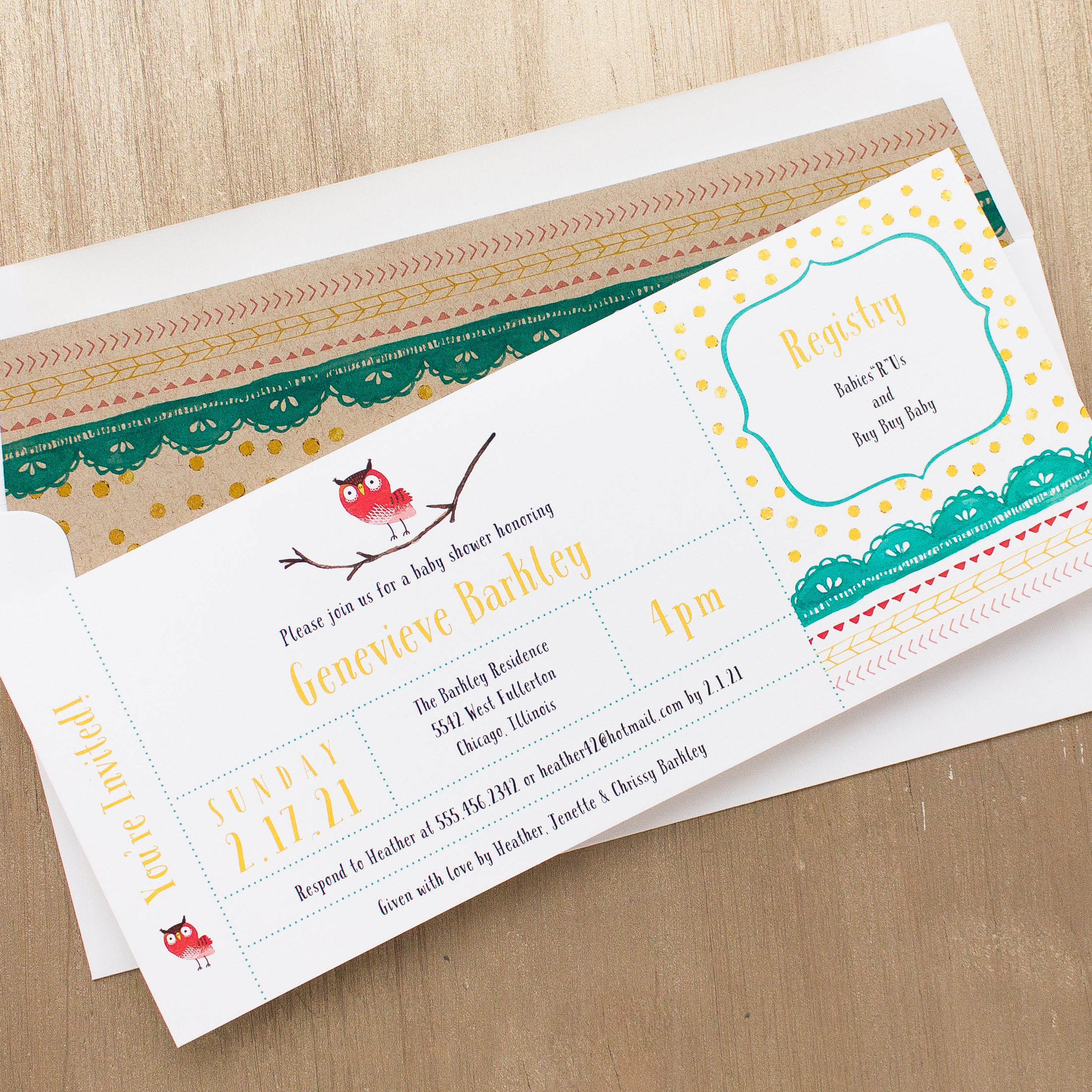 Blank Owl Baby Shower Invitations: Little Owl Baby Shower Invites With Envelope Liners