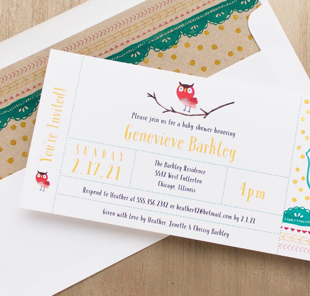 Little Owl Baby Shower Invitations