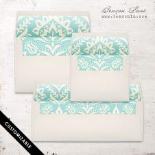 Mint Damask Envelope Liner