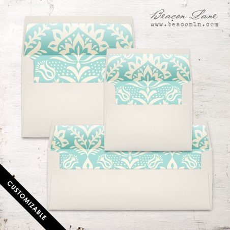 Mint Damask Envelope Liner