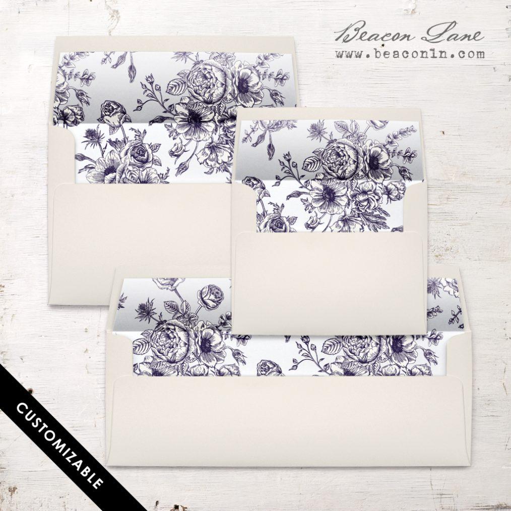 Navy Bouquet Envelope Liner