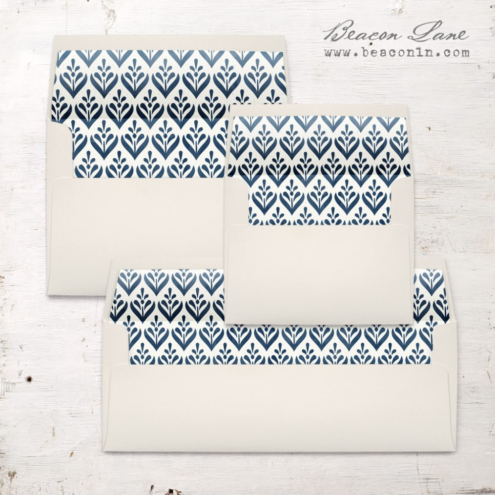 Navy Geometric Flower Envelope Liner