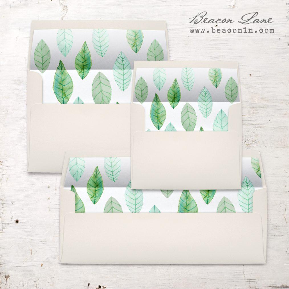 Organic Green Leaf Envelope Liner