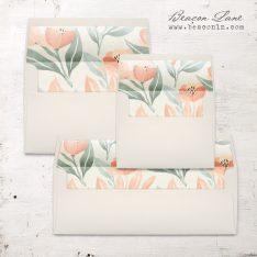 Peach Floral Envelope Liners