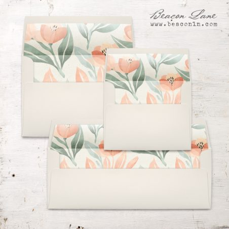 Peach Floral Envelope Liners