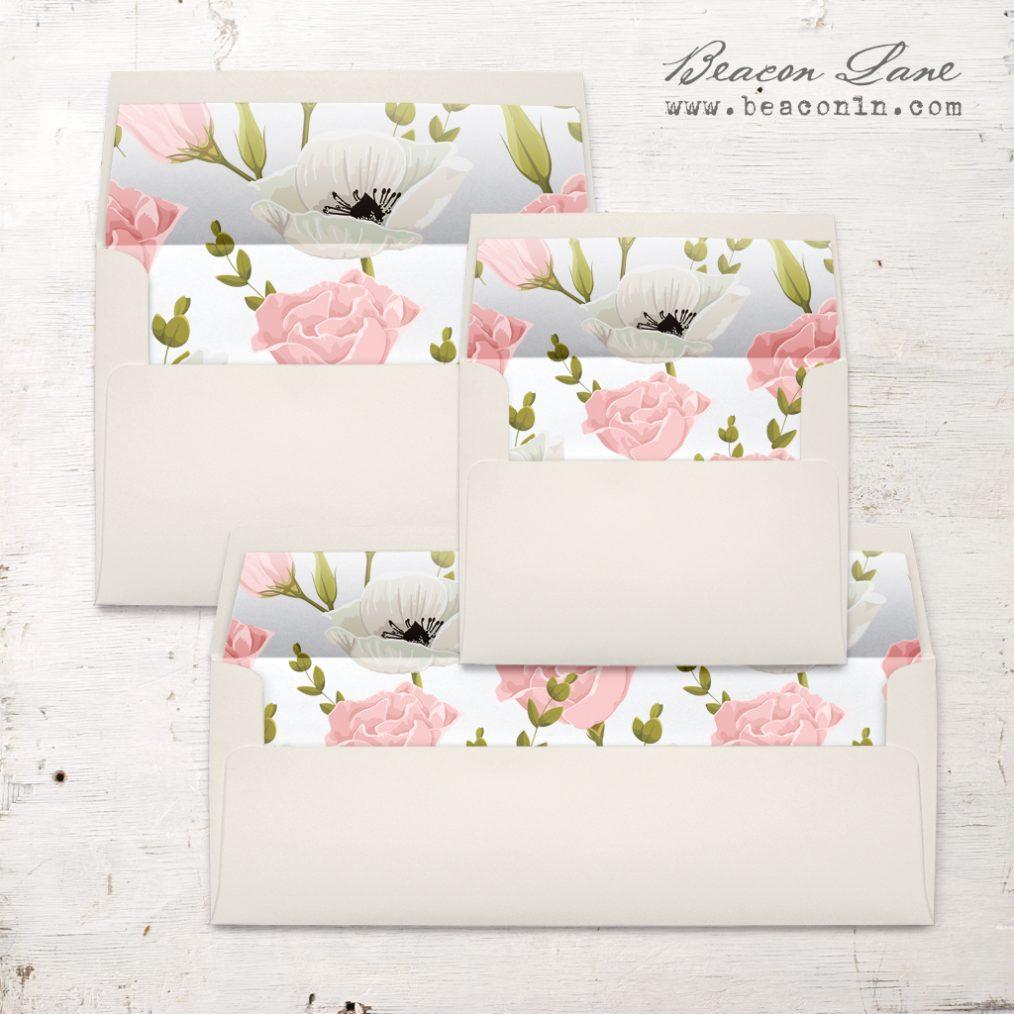 Pink and White Floral Envelope Liner
