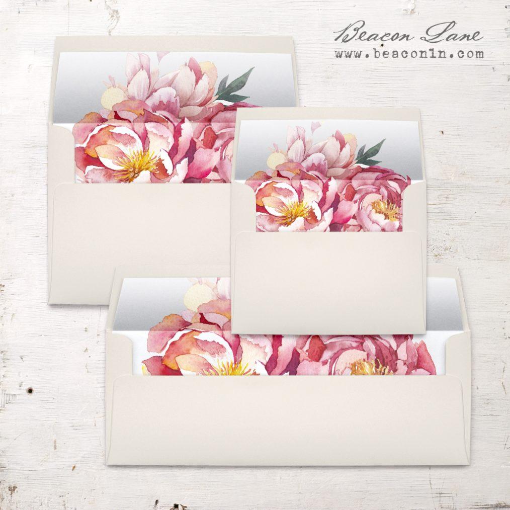 Pink Peonies Envelope Liner