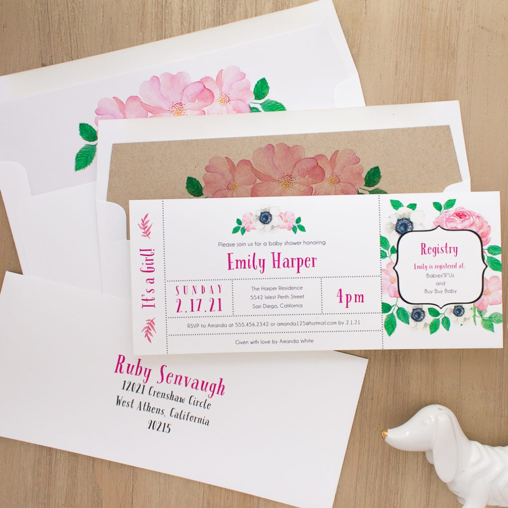 Pretty In Pink Baby Shower Invite