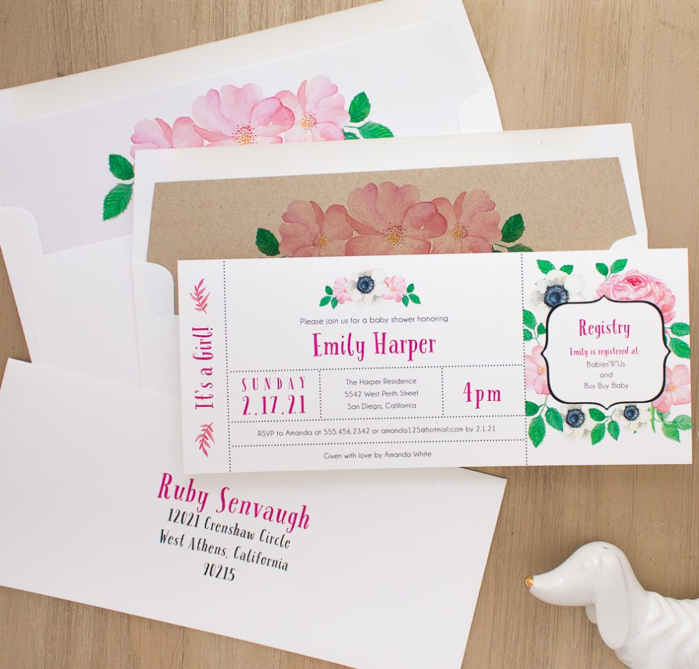 Pretty In Pink Baby Shower Invite
