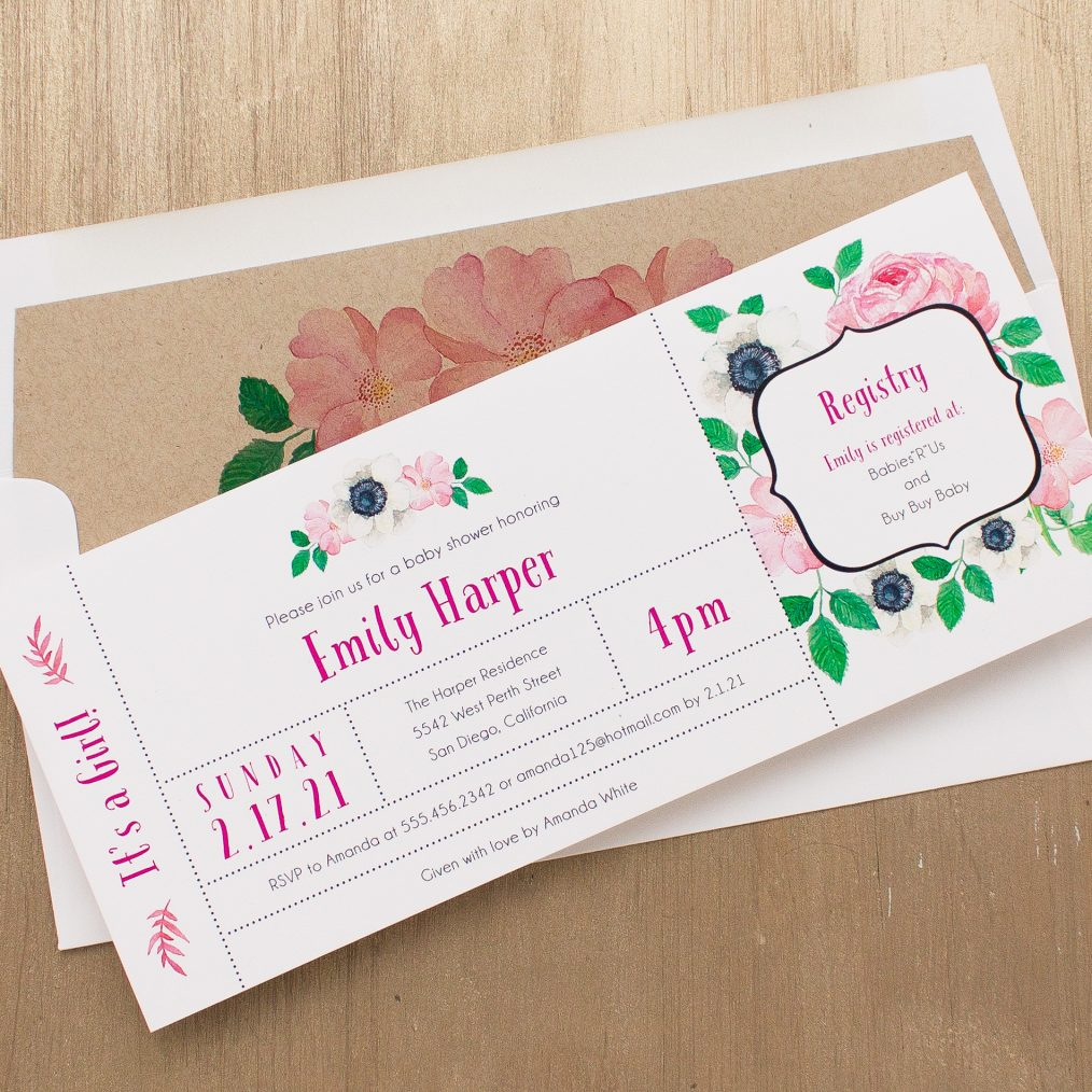 Pretty In Pink Baby Shower Invitation